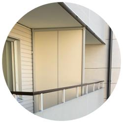 Skärmväggar används framför allt som avdelare mellan balkonger/uteplatser.